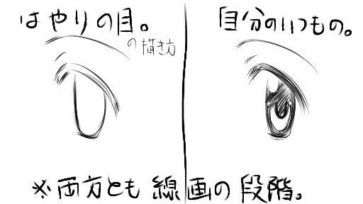 流行りの目塗りと自分のいつものやり方の比較(線画段階)