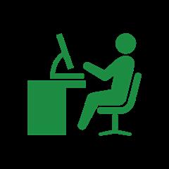 机と椅子、タブレット等機材の位置