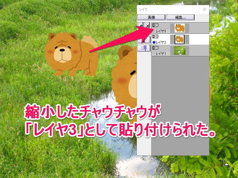 コピー→縮小した画像が、新しいレイヤとして貼り付けられる