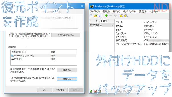 復元ポイント作成と、外付けHDDへのバックアップ